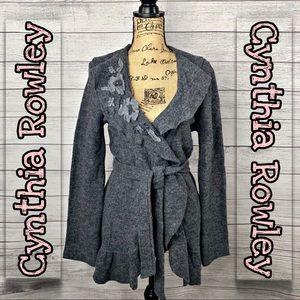 Cynthia Rowley | Grey Wool Ruffle Cardigan SZ M